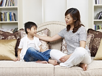 mother and son talking