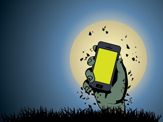 zombie hand holding phone